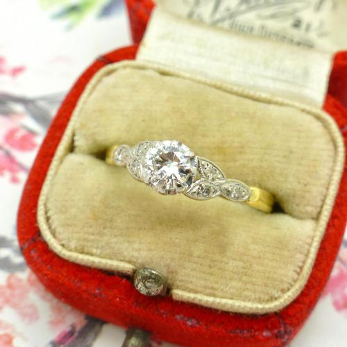 Art Deco 18ct Platinum Old Cut Diamond Solitaire Engagement Ring 0.35ct c.1920 (1 of 11)