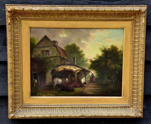 19th Century Country Farmhouse Scene, Oil on Canvas. Original Gilt Frame (1 of 5)