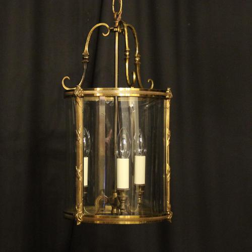French Gilded Bronze Convex Antique Hall Lantern (1 of 10)