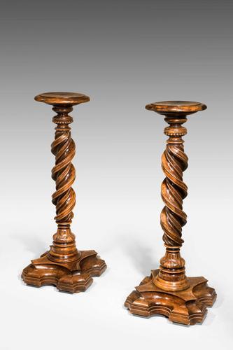 Pair of Early 17th Century Italian Solomonic Walnut Torcheres (1 of 6)