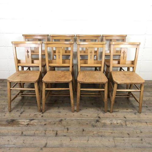 Set of Eight Antique Church Chairs (m-2068-8) (1 of 7)