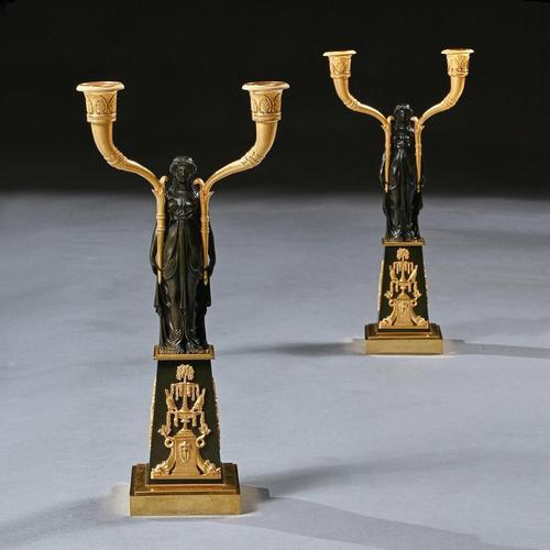 Important Pair of Early Empire French Gilt-Bronze Candelabra Attributed to Claude Galle (1 of 10)