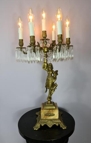 Tall Seven Branch Italian Candelabra Table Lamp c1930 (1 of 7)
