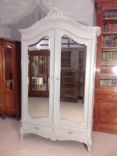 Painted French Carved Armoire in Plummet Grey (1 of 6)