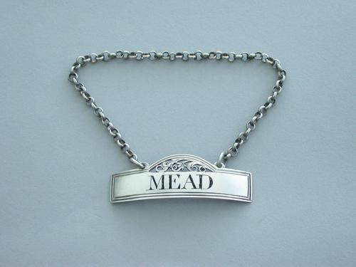 Rare George III Silver Wine Label 'Mead' (1 of 9)