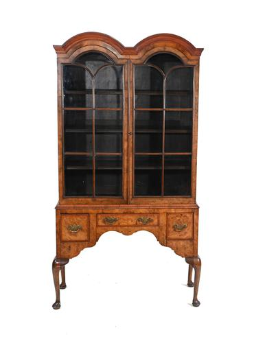 Antique Walnut Cabinet Bookcase Queen Anne Domed (1 of 11)