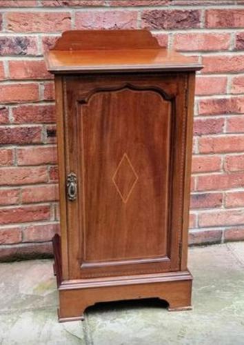 Edwardian Mahogany Wood Inlaid Bedside Cabinet (1 of 7)