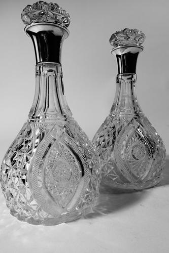Exceptional Pair of Early 20th Century Cut-Glass English Silver Decanters (1 of 5)