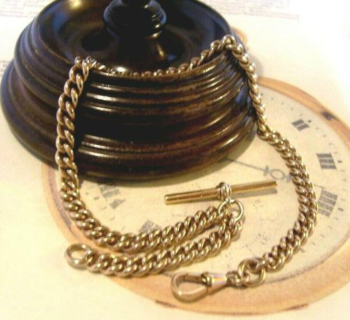 Antique Pocket Watch Chain 1890s Victorian Large 10ct Rose Gold Filled Albert With T Bar (1 of 12)