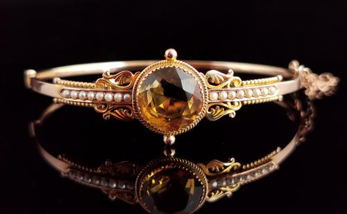 Antique Victorian Citrine & Pearl Bangle, 9ct Gold (1 of 14)