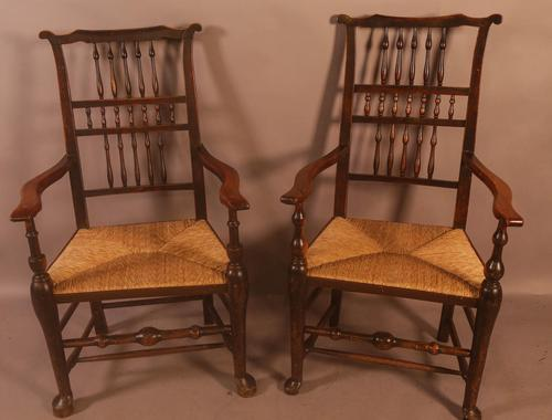 Pair of 19th Century Spindle Back Armchairs with Rush Seats (1 of 6)