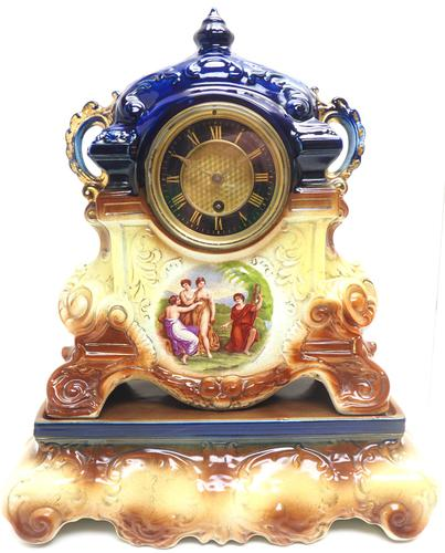Antique 8-day Porcelain Mantel Clock Classical Blue & Earth Glazed French Mantle Clock (1 of 12)