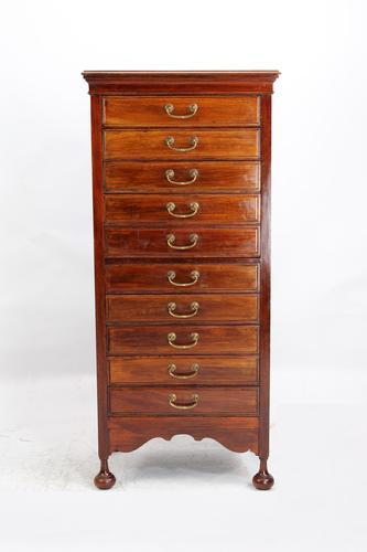Tall & Slim Antique Edwardian Mahogany Music Cabinet (1 of 13)