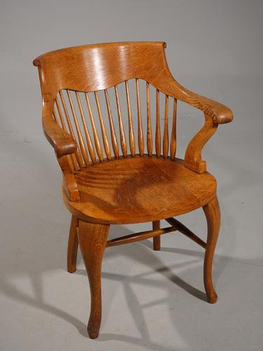 Shapely Early 20th Century Golden Oak Bow-Backed Desk Chair (1 of 3)
