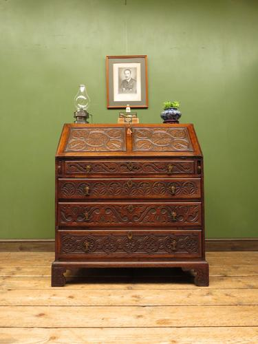 Antique Carved Oak Writing Bureau Desk with Fall Front, Handsome Gothic Piece (1 of 24)