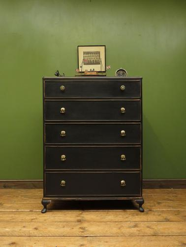 Art Deco Black Painted Chest of Drawers, Gothic Shabby Chic (1 of 13)