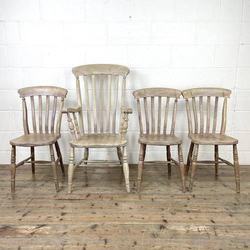 Set of Four Slat Back Antique Kitchen Chairs (1 of 10)
