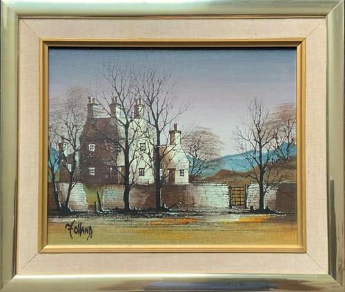 Ronald Folland (1932-1999) Original Signed Winter Village Landscape Oil Painting (1 of 12)