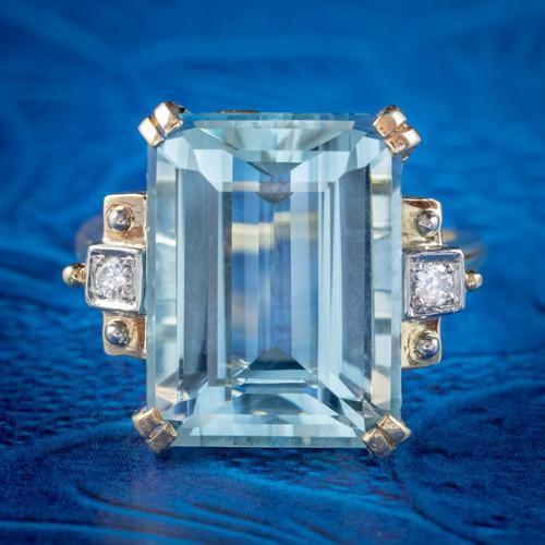 Vintage Aquamarine Diamond Ring 14ct Gold 12ct Emerald Cut Aqua (1 of 8)