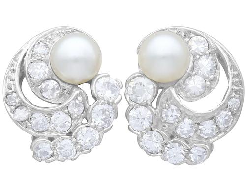 Cultured Pearl, 0.92ct Diamond, Platinum & 18ct White Gold Clip on Earrings - Vintage c.1950 (1 of 9)