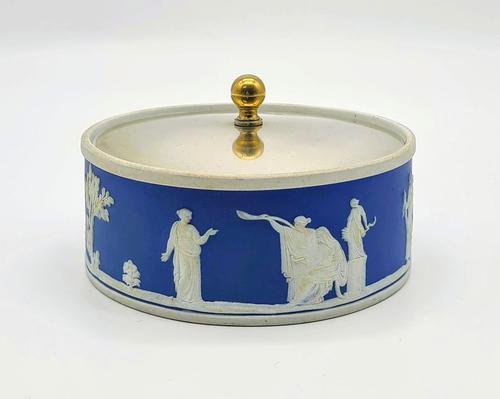 Blue Wedgwood Jasperware Butter Dish c.1890 (1 of 5)