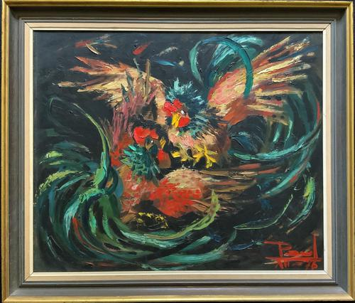 Stunning Original 1970s Vintage Abstract  Acrylic Painting Cocks Fighting - Game (1 of 15)