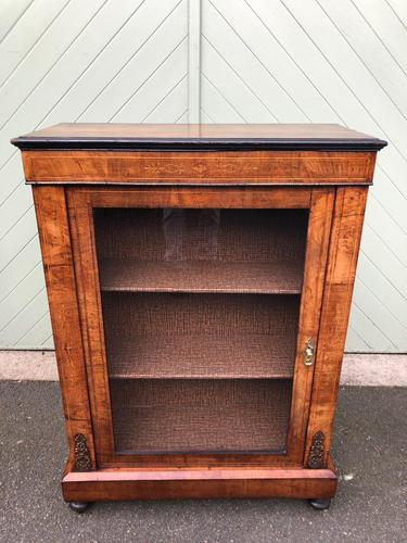 Antique Inlaid Walnut Display Cabinet (1 of 10)