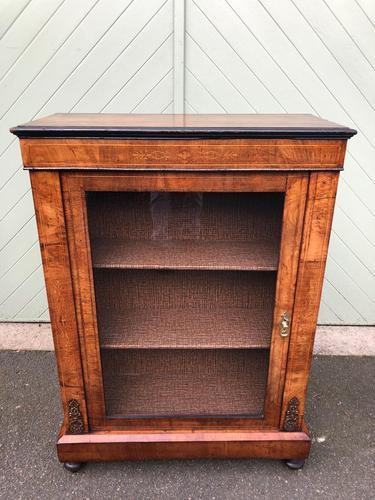 Antique Inlaid Walnut Display Cabinet (1 of 10)