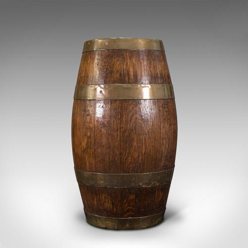 Antique Coopered Barrel, English, Oak, Brass, Stick Stand, Late Victorian c.1900 (1 of 10)