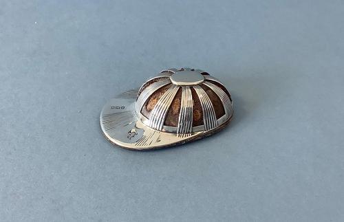 Antique Silver Novelty Jockey Cap Pin Cushion (1 of 4)