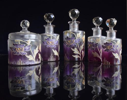 Moser Art Nouveau Enamelled Cameo Dressing Table Set (1 of 7)