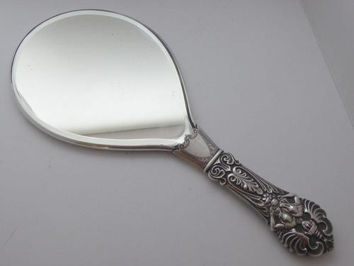Rare and Unusual Edwardian 1902 Solid Hallmarked Silver Hand Mirror (1 of 6)