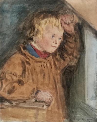 William Henry Hunt Watercolour - Portrait of Farmers Boy (1 of 2)