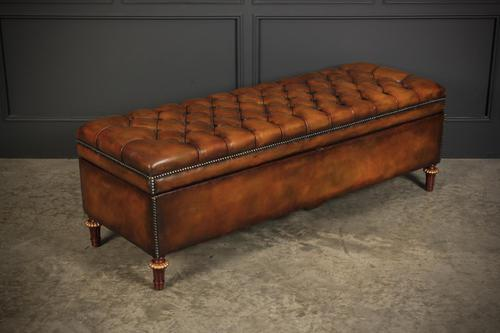 Victorian Buttoned Leather Ottoman (1 of 13)