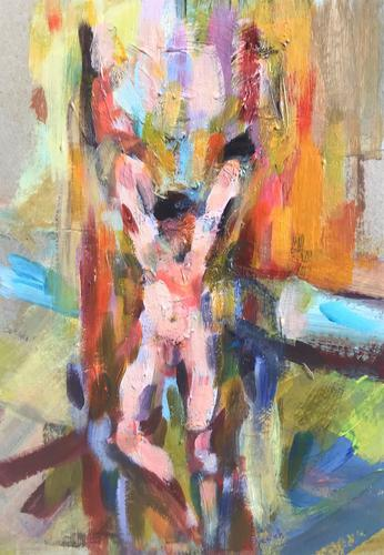 Original Oil on Board 'Arms up' by Helen Breach (1 of 1)