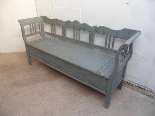Grey & Green 3 Seater Antique Pine Kitchen / Hall Box Settle / Bench (1 of 10)