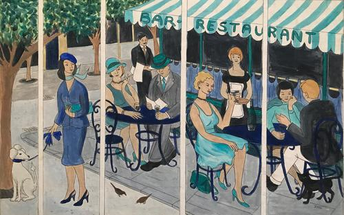 Original watercolour design for a Mural 'Cafe society' by Irene Stocks. Initialled. 1985 (1 of 1)