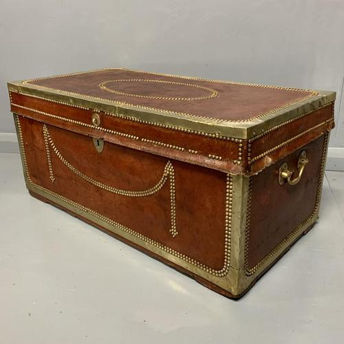 Unusual red leather and brass bound camphor trunk chest (1 of 10)