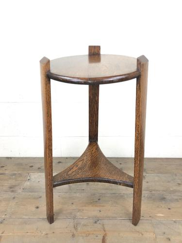 Early 20th Century Antique Oak Circular Side Table with shelf (1 of 9)