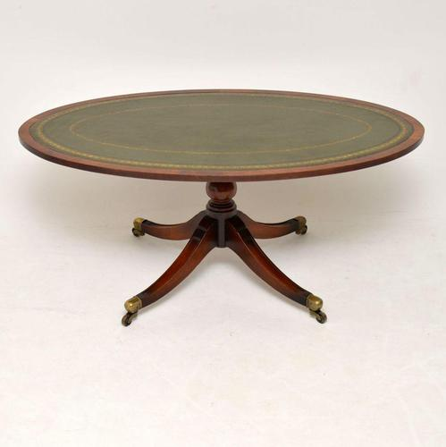 Antique Mahogany Leather Top Coffee Table (1 of 5)