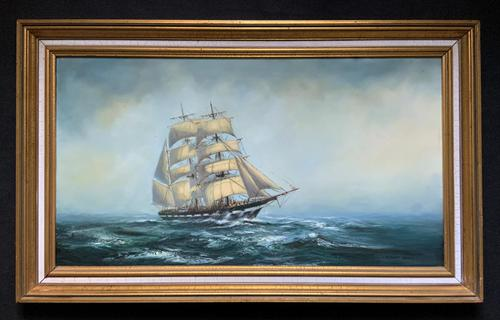 Large Beautiful Mid-Century Full-Masted Ship in Rough Seas Seascape Oil Painting (1 of 12)