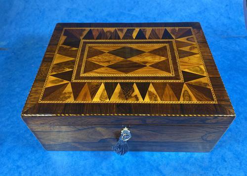 George III Rosewood Tunbridge Ware Box with Specimen Wood Inlay (1 of 15)