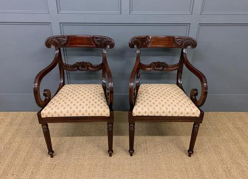 Excellent Pair of Regency Mahogany Scroll Armchairs (1 of 17)
