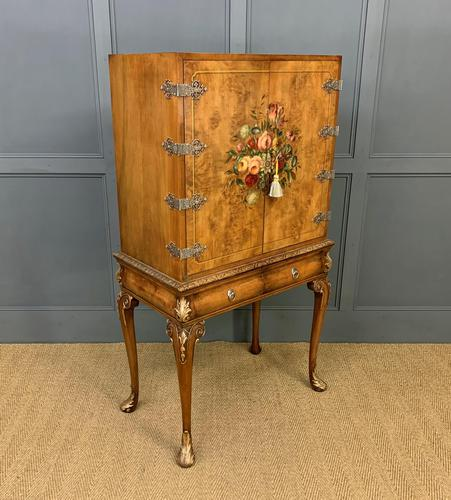 Floral Painted Burr Walnut Cabinet on Stand (1 of 15)
