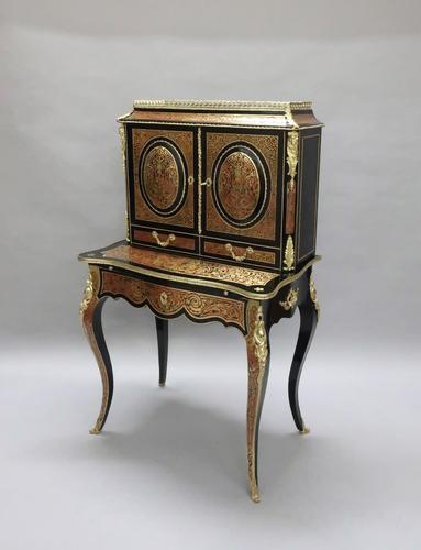 French 19th Century Louis XV Style Boulle Writing Cabinet (1 of 11)