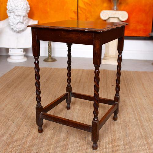Oak Writing Table Arts & Crafts Side Table Edwardian Slim Petite (1 of 6)