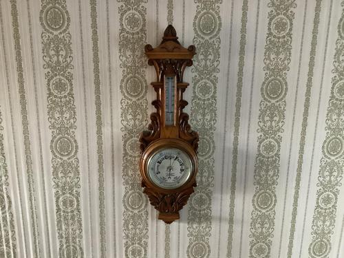Heavily Carved Oak Mid Victorian Barometer / Thermometer (1 of 4)