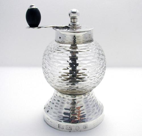 Rare Hukin Heath / Christopher Dresser 1893 Victorian Solid Sterling Silver Glass Antique Pepper Mill / Shaker / Grinder Arts & Crafts Aesthetic (1 of 11)