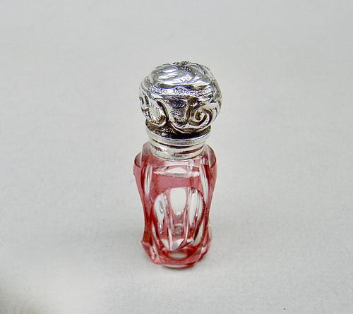 Miniature Victorian Silver & Overlay Cranberry Glass Scent Bottle c.1890 (1 of 8)