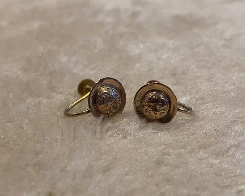 Pair of 9ct. Gold Screw on Earrings. Birmingham 1899 (1 of 5)
